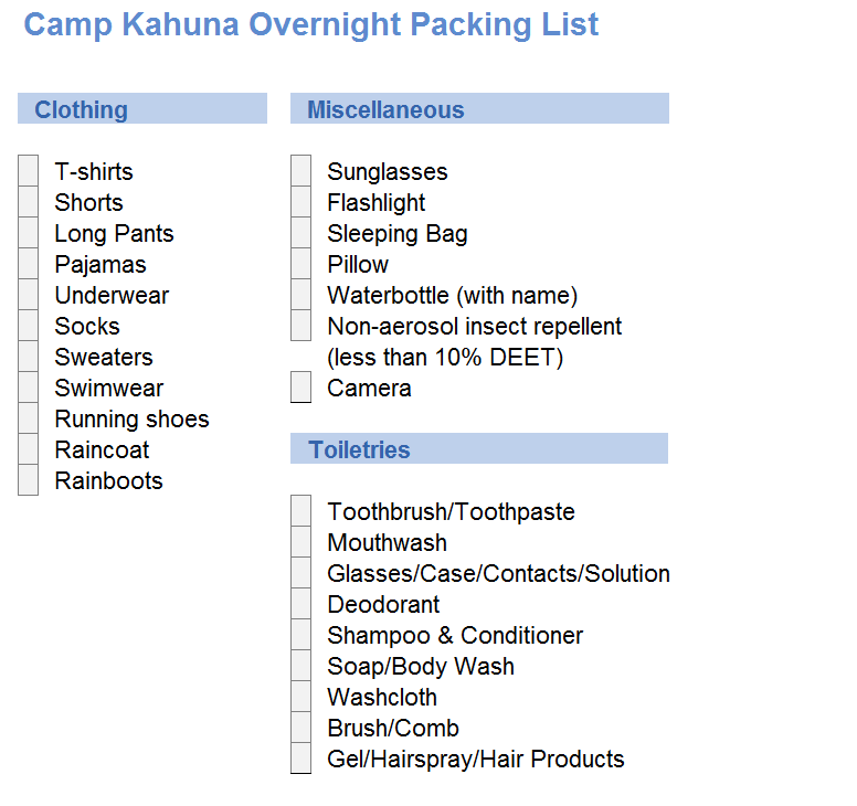 Camp sleepover packing list