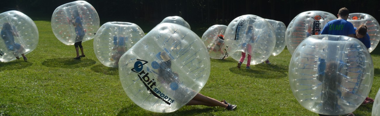 Kids Playing Bubble Soccer at Leadership Summer Camp in Oakville